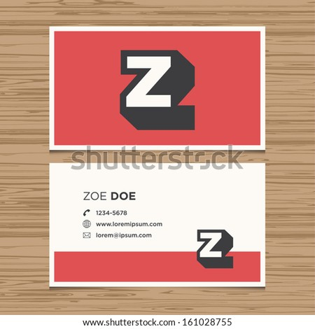 Business card with alphabet letter . Vector template editable. Vintage design.  - stock vector
