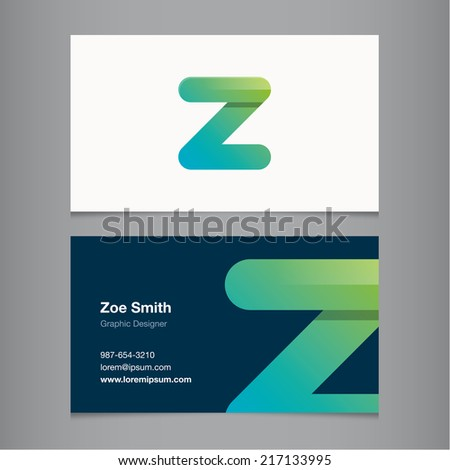 Business card with alphabet letter z. - stock vector