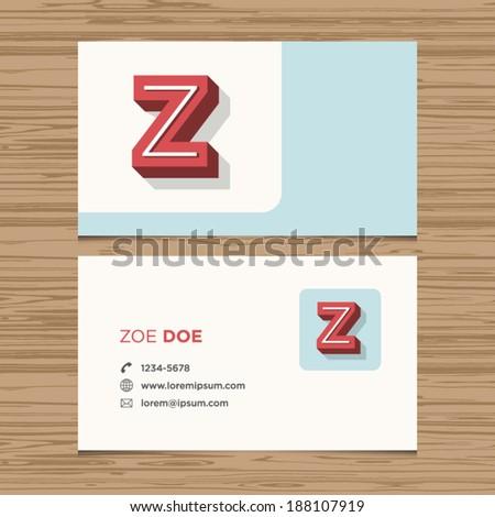Business card with alphabet letter Z. Vector template editable. Vintage design.  - stock vector