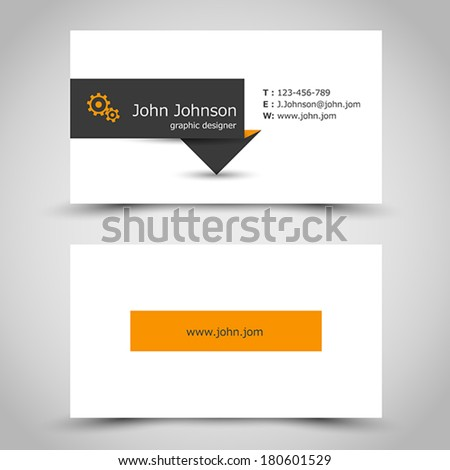 business card with dark sticker. office concept - stock vector