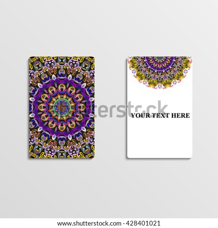 Business card with hand drawn ornament, greeting card or invitation card design. Mandala. Vector illustration