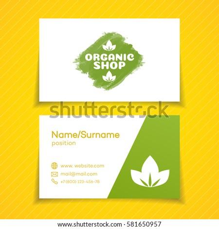 Business card organic shop logo use stock vector 581650957 business card with organic shop logo use for natural product market vegan food store colourmoves