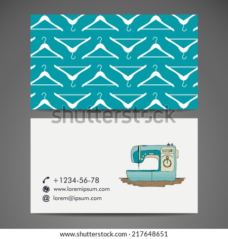 Business card with sewing machine  - stock vector