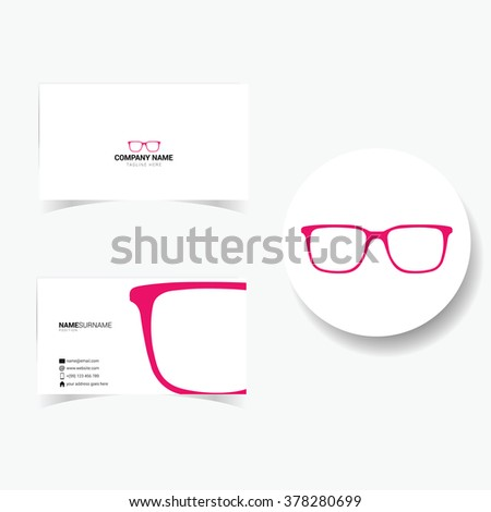 business card with sunglasses illustration in pink - stock vector