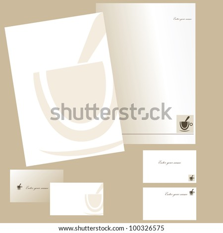 Business cards and letterheads with cup of coffee - stock vector