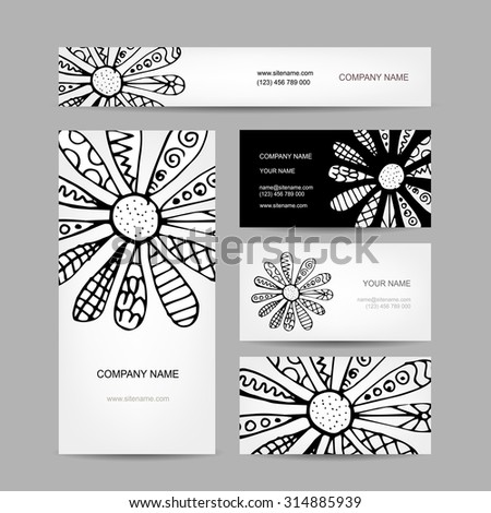 Business cards collection, abstract floral design. Vector illustration - stock vector