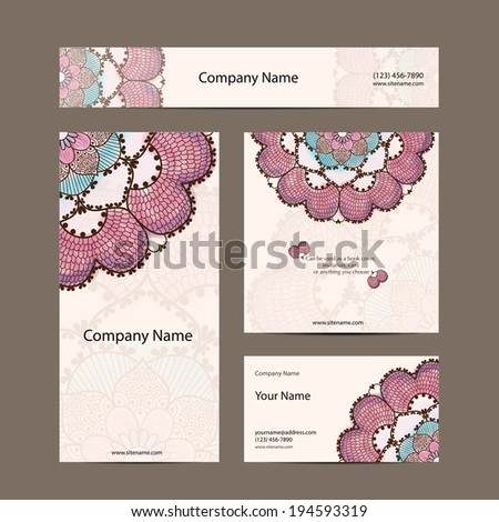 Business cards collection, delicate floral pattern. Vector background. Card or invitation. Vintage decorative elements. Hand drawn background. Islam, arabic, indian, ottoman motifs. - stock vector