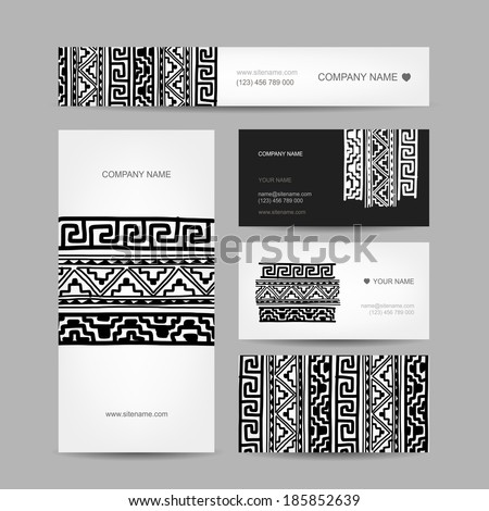 Business cards collection, ethnic ornament for your design - stock vector