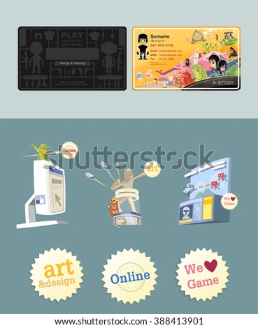 Business cards collection, fantasy land. - stock vector