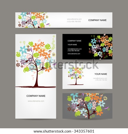 Business cards collection, floral tree design. Vector illustration