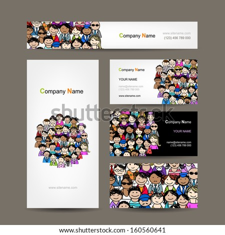 Business cards collection, people crowd design - stock vector