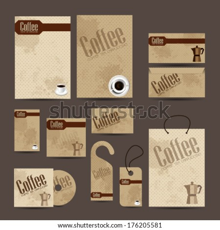 Business cards collection with coffee vintage design - stock vector