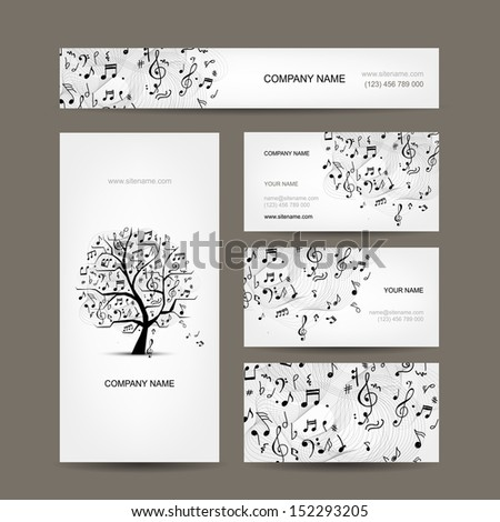 Business cards collection with music design - stock vector