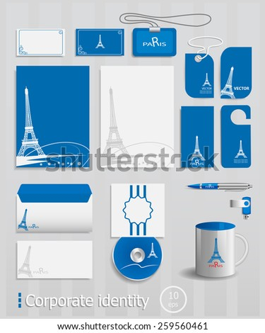 Business cards collection with Paris concept design. Ultimate vector set of printing materials template for branding identity. - stock vector