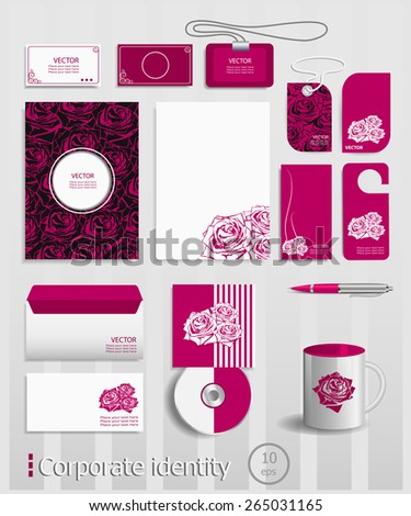 Business cards collection with red roses concept design. Ultimate vector set of printing materials template for branding identity. - stock vector
