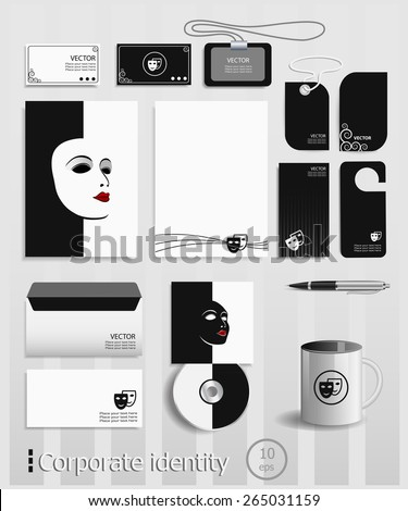 Business cards collection with theatrical masks concept design. Template for branding identity. - stock vector