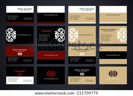 Business Cards creative design with logo, vintage style set, elegant print, front and back samples, black, white, red and beige colors, luxury classic templates, blank layout for your idea  - stock vector