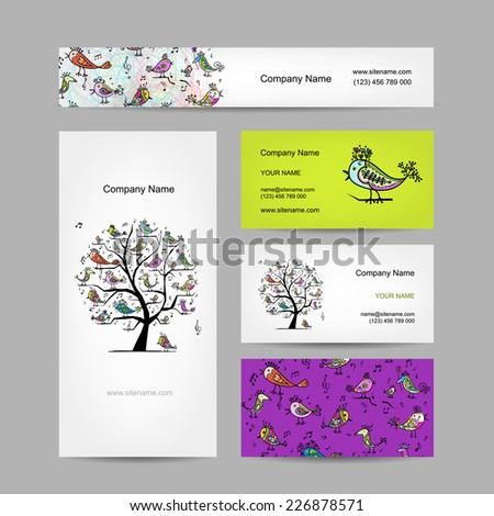 Business cards design, art tree with funny birds - stock vector
