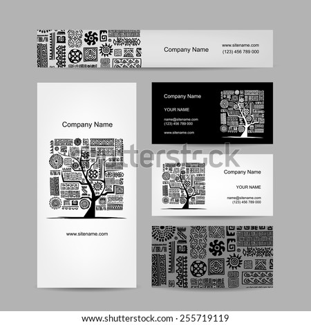 Business cards design, ethnic tree. Vector illustration - stock vector