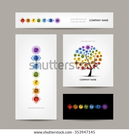 Business cards design, seven main chakras. Vector illustration - stock vector