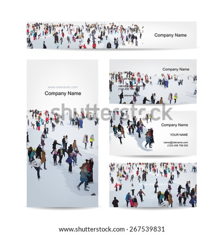 Business cards design, skaters on rink. Vector illustration - stock vector