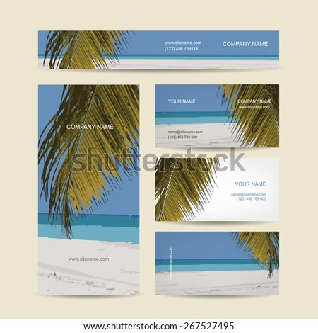 Business cards design, tropical island. Vector illustration - stock vector