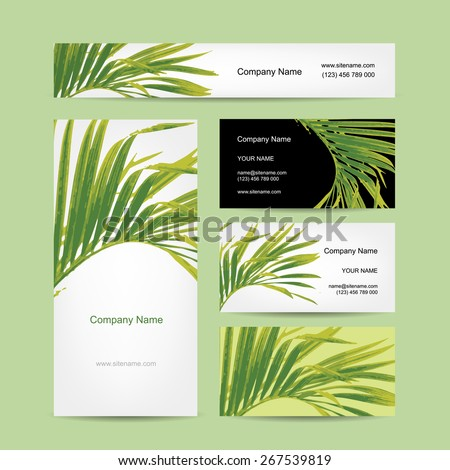 Business cards design, tropical leaf. Vector illustration - stock vector