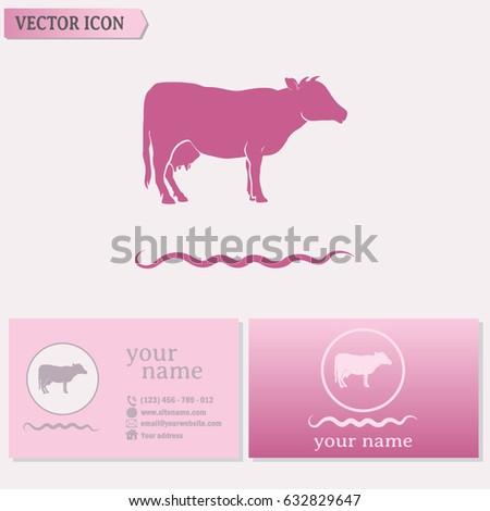 Business cards design vector illustration cow stock vector business cards design vector illustration cow silhouette colourmoves