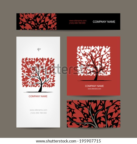 Business cards design with love tree - stock vector