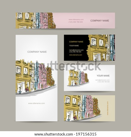 Business cards design with old city street sketch - stock vector