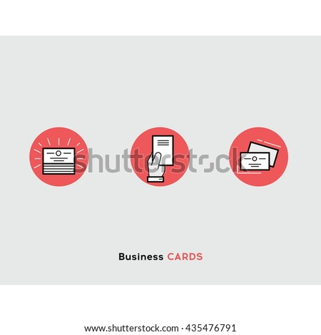 Business cards flat illustration Set of line modern icons for print design business and graphic design - stock vector