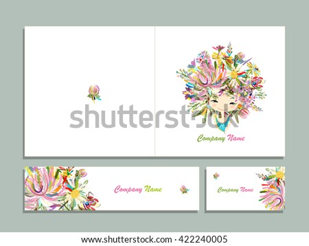 Business cards, floral girl for your design - stock vector