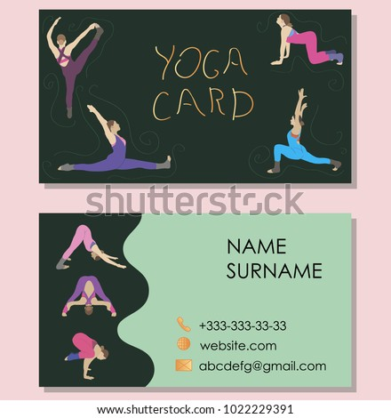 Business cards yoga instructors vector image stock vector 1022229391 business cards for yoga instructors vector image with yoga asanas reheart Images