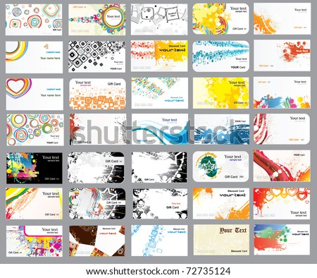 Business cards on different topics - stock vector