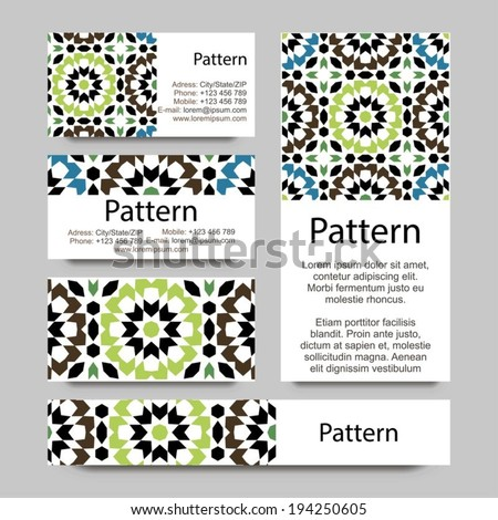 Business cards pattern with Islamic morocco ornament. Includes seamless pattern - stock vector