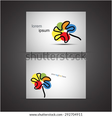 Business cards set with an abstract painted flower, eps10 vector. - stock vector