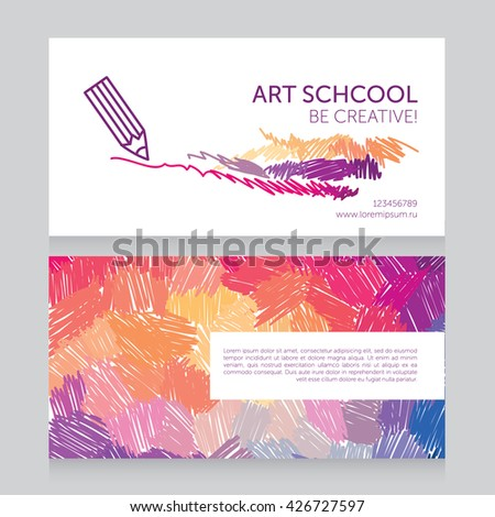 Business cards template art school can stock vector 426727597 business cards template for art school can be used for art therapy or as business toneelgroepblik Image collections