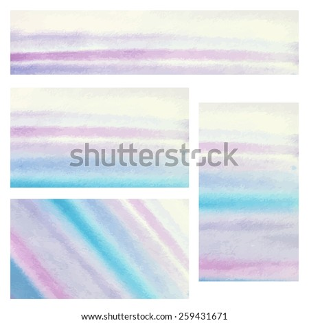 Business cards templates. Cards with abstract blue and purple stripes. Watercolor design - vector