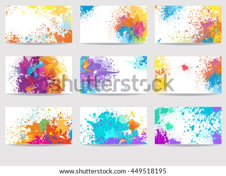 Business cards templates made of paint stains