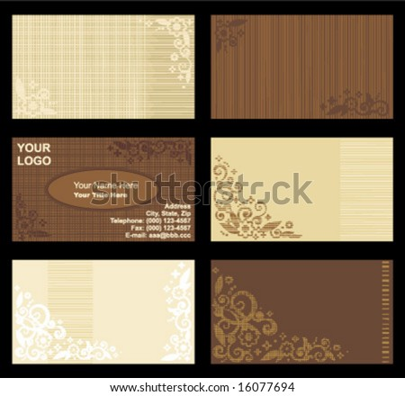 Business cards templates set of six with floral patterns and fabric texture visible, horizontal, natural colors ( for high res JPEG or TIFF see image 16054330 )