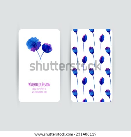 Business cards templates. Watercolor design. Cards with blue abstract watercolor poppies. Invitations, flyers. Vector illustration.  - stock vector
