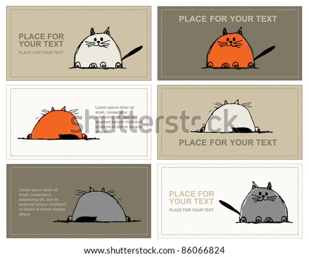 Business cards with cats sketch for your design - stock vector