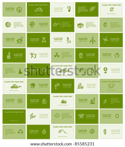 Business cards with ecology icons for your design - stock vector
