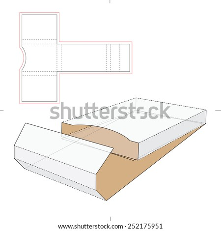 Business Cards Wrapping Box with Die Cut Template - stock vector