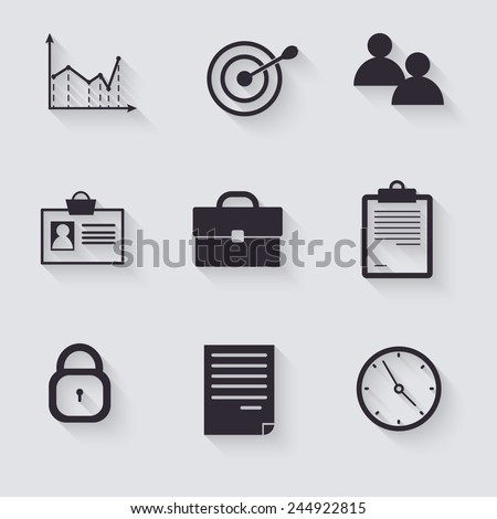 Business career icons, white on colored squares with shadow - stock vector