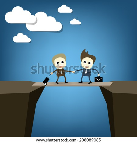 Business cartoon concept set , business man shaking hand on risk cliff cartooning design on blue background for concept artwork presentation , Vector - stock vector