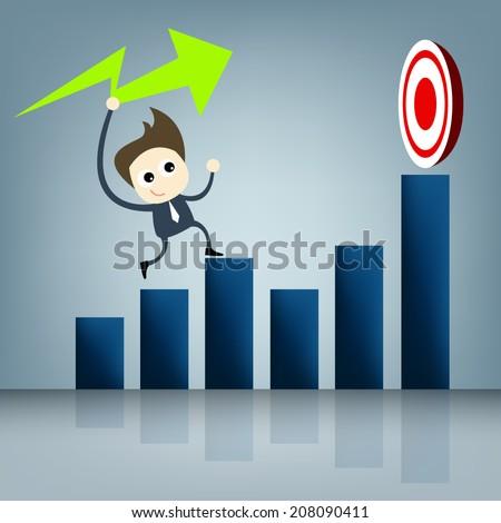 Business cartoon concept set , business man work on graph to target success cartooning design on blue background for concept artwork presentation , Vector - stock vector