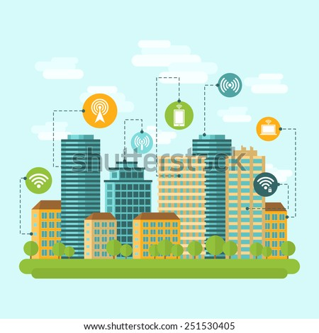 Business center and residential downtown city area buildings computer wireless internet connection range concept abstract vector illustration - stock vector