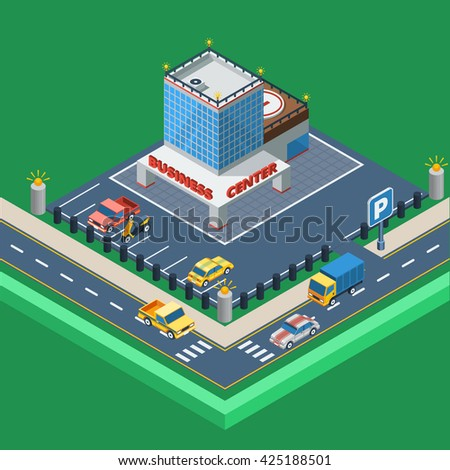 Business Center Building Concept Isometric Vector Illustration