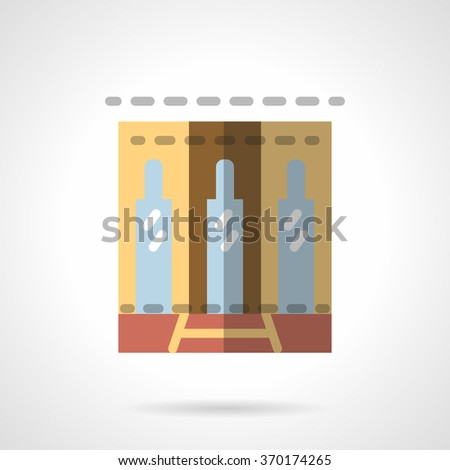 Business center building facade. Glass door and two stylish side windows. Showcases and storefronts. Vector icon flat color style. Web design element for site, mobile and business. - stock vector